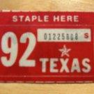 1992 TEXAS PLATE RENEWAL STICKER PASSENGER CAR