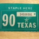1990 TEXAS LICENSE PLATE RENEWAL STICKER PASSENGER