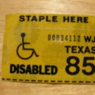 1985 TEXAS LICENSE PLATE RENEWAL STICKER DISABLED