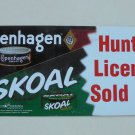 """COPENHAGEN /SKOAL """"HUNTING LICENSES SOLD HERE"""" FRONT/BACK DOOR DECAL"""