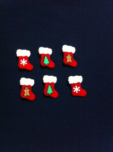 Christmas Boots Novelty Buttons - sewing supplies