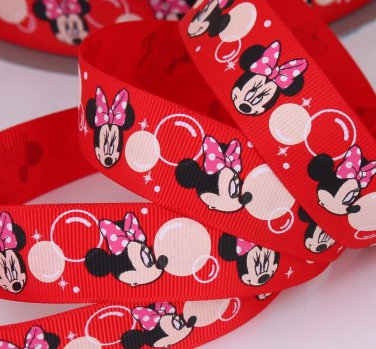 Red Minnie Mouse Bubble Printed Grosgrain Ribbon