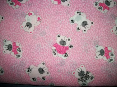 BTY Zebra Print Bear on Cotton Fabric - By The Yard Sewing Supplies