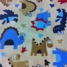BTY Jurassic Park Cotton Flannel Beige-By yard sewing supplies