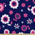 BTY Fluffy Jungle Floral Flannel Cotton Fabric - By the yard sewing supplies