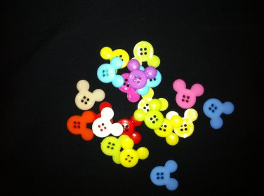 Mickey Mouse Rainbow Novelty Plastic Buttons - sewing supplies