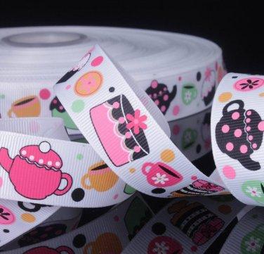 Teapot Cupcake Printed Grosgrain Ribbon- DIY Craft Supplies