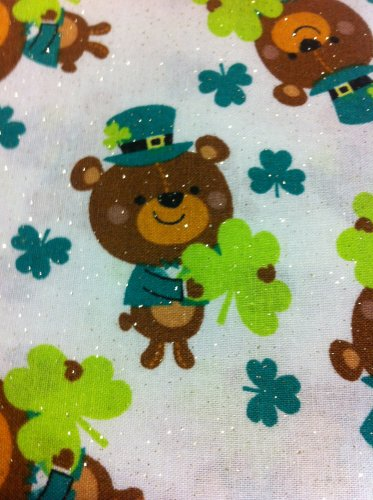 Bears and Clovers with Glitter Cotton Fabric - HALF YARD  Sewing supplies