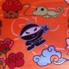 BTY Tomodachi Characters on Orange Cotton Fabric - By the Yard Sewing Supplies