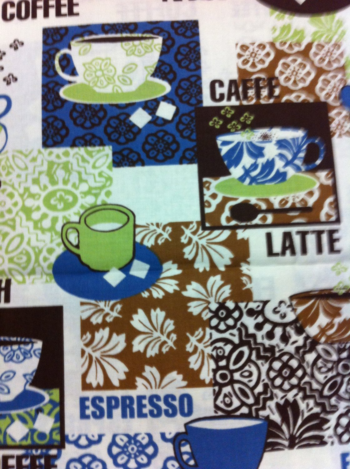 BTY Cafe Cups Cotton Fabric - Sewing Craft Supplies