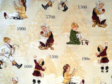 Children through the Years Cotton fabric - Half Yard sewing supplies