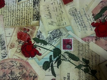 Robe Vintage Valentine Post Cards Cotton Fabric- Half Yard sewing supplies