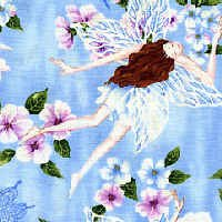 Large Fairies on Blue Cotton Fabric - Half Yard sewing supplies
