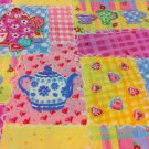 Tea Party Patch Cotton Fabric - Sewing Craft Supplies