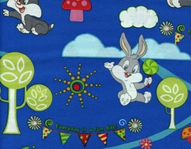 Loony Tunes Funny Day on Blue Cotton Fabric - Sewing Craft Supplies