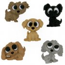 Playing Puppies Plastic Buttons / Sewing supplies  / Novelty Buttons / Party Supplies
