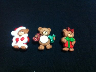 Xristmas Teddy Bears Novelty Buttons - sewing supplies