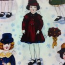 Holiday paper Dolls Cotton Fabric/By Yard Sewing Craft Supplies/Quilt 100% Cotton Fabric