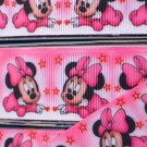"Pink Minnie Mouse Printed Grosgrain Ribbon 1""(25mm)/DIY Hair bows 3YARDS"