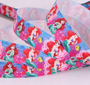 "Disney The Mermaid Ariel Printed Grosgrain Ribbon/7/8""(22mm)width /Hair bow DIY/3YARDS"