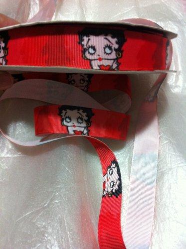 """Betty Boop on Red Printed Grosgrain Ribbon/7/8""""(22mm)width/DIY/3 YARDS"""