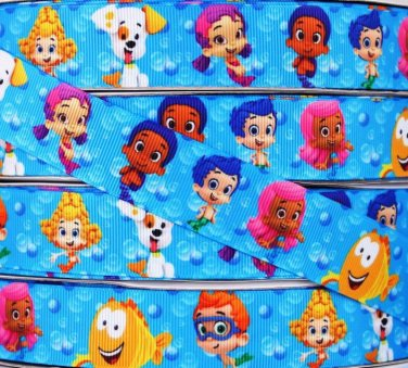 "Bubble Guppies Printed Grosgrain Ribbon 3YARDS/DIY/1""(25 mm) width"