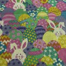 Easter Bunnies around Eggs Cotton Fabric/Sewing craft supplies/Apparel Fabric/Quilt 100%