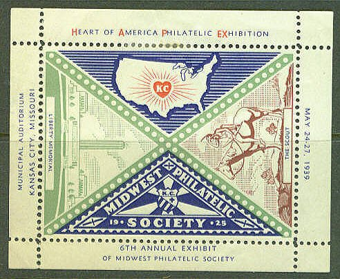 Midwest Philatelic Society Stamp Show Label Kansas City MO