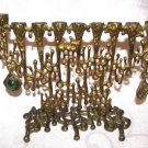 ANCIENT JEWISH COIN ~ BRASS HANUKKAH LAMP MENORAH WITH EILAT STONE ISRAEL