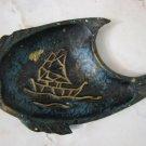 VINTAGE ROSH HASHANA BRASS BLUE FISH DISH EARLY ISRAEL
