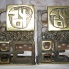 "RARE ""SHALOM-PEACE"" ISRAEL ART BRASS BOOKENDS JUDAICA MADE BY CHEN HEBRON"