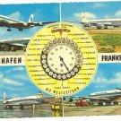 VINTAGE FRANKFURT AIRPORT WORLD TIME POSTCARD