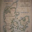 BEAUTIFUL ANTIQUE SHADOW EMBROIDERY MAP OF DENMARK 1936