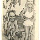 """COUPLE ON DESERTED BEACH"" REAL FACE PHOTO 1948 ENGLAND"