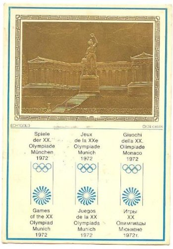 20TH MUNICH OLYMPIC GAMES 24K GOLD EMBOSSED PC 1972