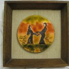 """MOTHER & DAUGHTER DANCING AT SUNSET"" ENAMEL PICTURE IN WOOD FRAME ISRAEL ART"