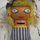 ISRAELI GIRL Hand Made Wooden Doll Saving Box Israel 1950's ~ Rare