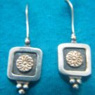 STUNNING FLOWERS STERLING SILVER 14K GOLD EARRINGS ISRAEL