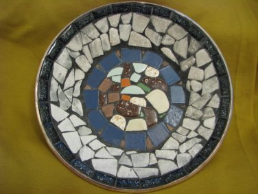 Vintage Copper Plate with Abstract Mosaics Israeli Art Signed PM, Israel 1960's