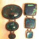 LOT OF 2 STUNNING EILAT STONES 925 STERLING SILVER BROOCHES ISRAEL