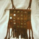 VINTAGE ETHNIC MOROCCAN SOFT LEATHER SHOULDER BAG WITH COINS ~ MOROCCO
