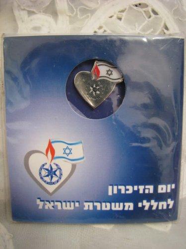 Fallen Israeli Police Memorial Day Pin with HATIKVAH Anthem of Israel