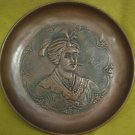 AMAZING ANTIQUE PERSIAN HAND MADE EMBOSSED BRASS PLATE