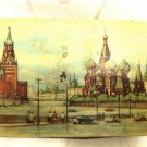 SOVIET RUSSIAN RED SQUARE MOSCOW KREMLIN LITHO TIN CANDY BOX 1950'S