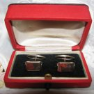 Russian Faceted Genuine Ural Orsk Jasper Gold Plated 875 Silver Cufflinks