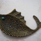 "GREAT EILAT STONE BRASS ""FISH"" ROSH HASHANA DISH ISRAEL"