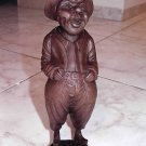 "WOOD CARVED LAUGHING FISHERMAN FIGIRINE 11"" TALL"
