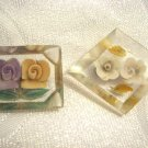 PAIR OF VINTAGE 1940s REVERSE CARVED CLEAR LUCITE ROSE BROOCHES