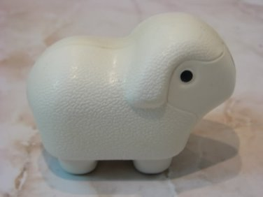 WHITE LAMB RATTLE CELLULOID DOLL RUSSIAN 1950'S