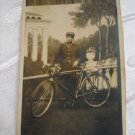 Jewish Polish soldier with Bicycle ~ Real Photo Postcard, 1929 Wilno